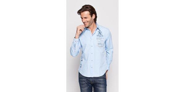 Pánská světle modrá košile Giorgio di Mare s potiskem