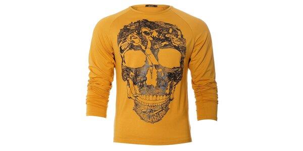 Pánské žluté tričko free Wave s dlouhým rukávem a černým grafickým potiskem