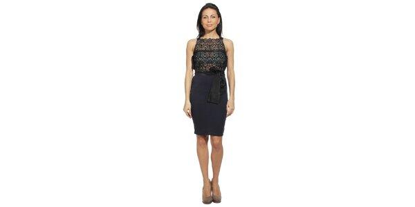 Dámské modro-černé šaty s krajkovým živůtkem red Valentino