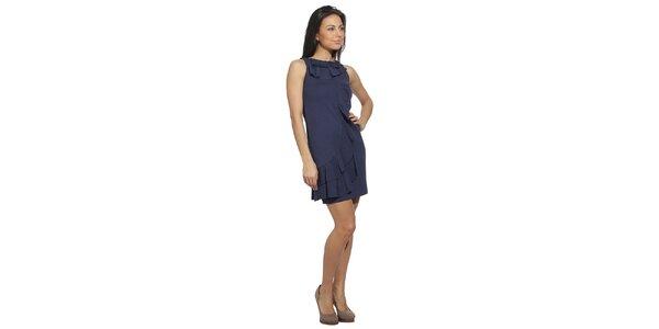 Dámské temně modré šaty se splývavými volány Red Valentino