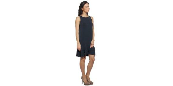 Dámské modro-černé šaty s volánovými lemy Red Valentino