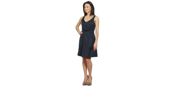 Dámské temně modré šaty s mašlí v pase Red Valentino