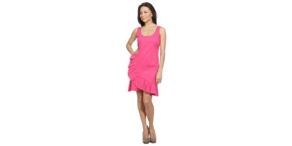 Dámské neonově růžové šaty s volánem Red Valentino