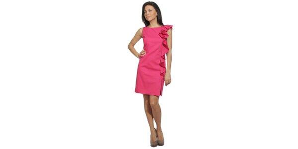 Dámské šaty v barvě jahodové tříště s volánem Red Valentino