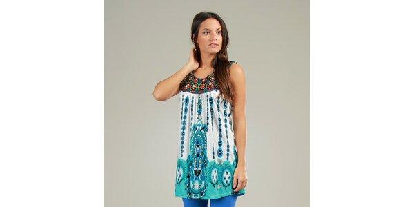 Dámské modro-zelené šaty Anabelle s ornamentálním vzorem