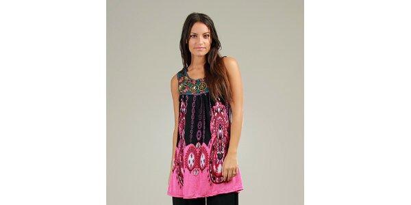 Dámské růžovo-černé šaty Anabelle s ornamentálním vzorem