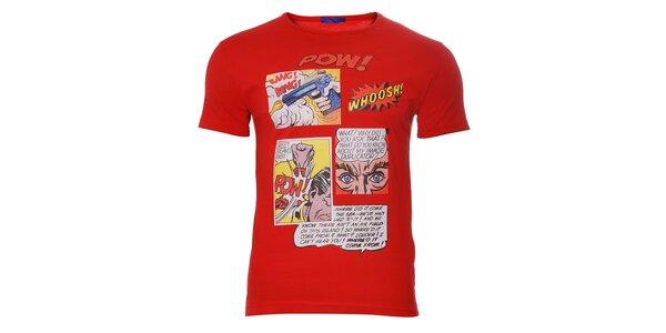 Pánské červené tričko Free Wave s komiksovým potiskem