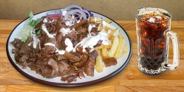 Kebab talíř s hranolky a nápojem dle výběru