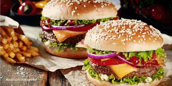 Burgery s hranolky pro dva až čtyři jedlíky