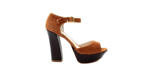 Dámské okrovo-hnědé sandále se zlatou přezkou Bagatt