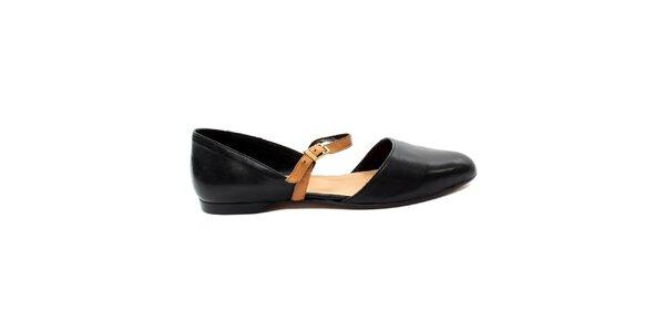Dámské černé uzavřené sandálky s béžovým páskem Bagatt