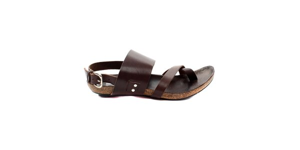 cfc8ca343898 Dámské tmavě hnědé sandálky s korkovou podrážkou Bagatt