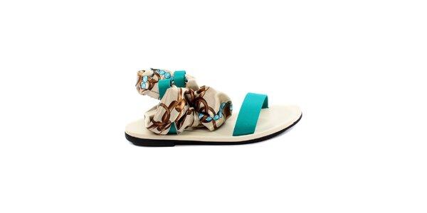 Dámské tyrkysovo-bílé sandálky s šátkovou částí Bagatt