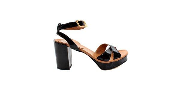 Dámské černo-béžové lakované sandálky s masivním podpatkem Bagatt