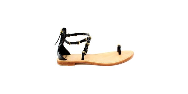 Dámské černé sandálky se zlatými přezkami Bagatt