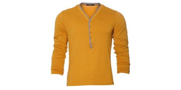 Pánské žluté tričko Free Wave s dlouhým rukávem