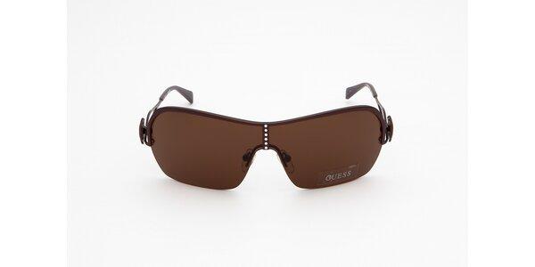 Dámské hnědé sluneční brýle s krystalky Guess