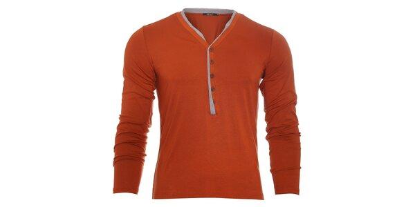 Pánské oranžové tričko Free Wave s dlouhým rukávem