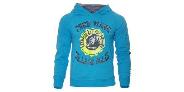 Pánská tyrkysově modrá mikina Free Wave s klokankou a kapucí