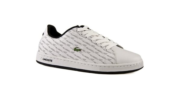 Dámské bílé kožené boty Lacoste s šedým potiskem