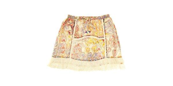 Dětská béžová sukně s vzory a prošíváním Peace&Love