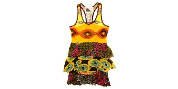 Dětské vzorované šaty s volánky Peace&Love