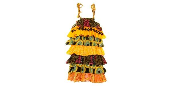 Dětské žluto-oranžové etno šaty Peace&Love