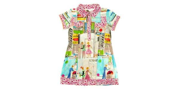Dětské pestré košilové šaty s městským potiskem Peace&Love