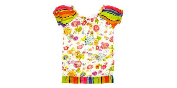Dětské pestré tričko s volánkovými rukávy Peace&Love