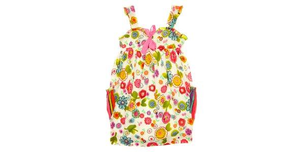 Dětské pestré šaty s mašličkou a kapsami Peace&Love
