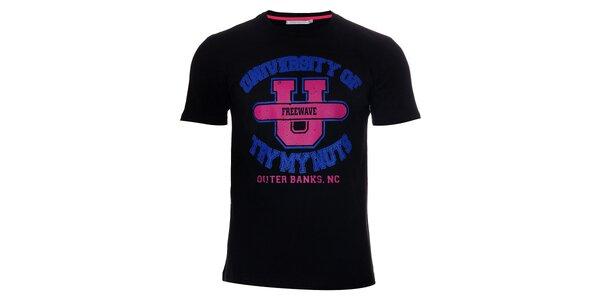 Pánské černé tričko Free Wave s barevným potiskem