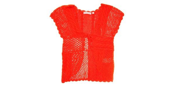 Dětská korálově červená pletená vestička Peace&Love