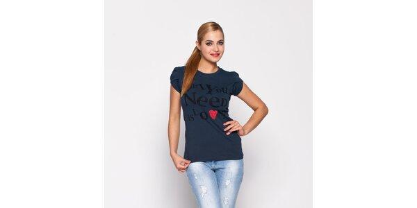 Dámské antracitové tričko Giorgio di Mare s potiskem