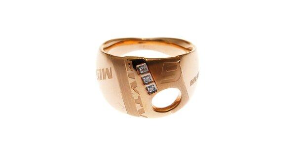 Dámský zlacený prsten Miss Sixty se zirkony