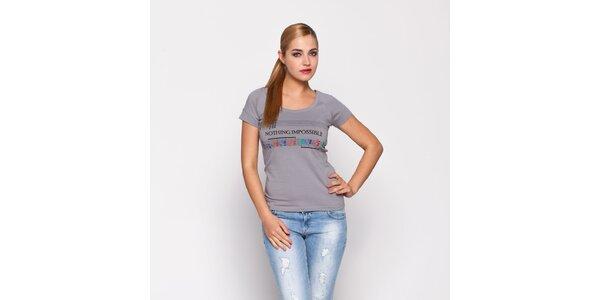 Dámské šedé tričko Giorgio di Mare s potiskem