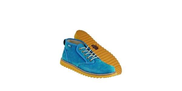 Pánské modré kožené boty Lacoste