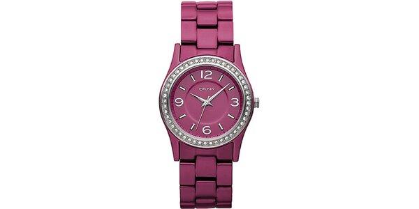 Dámské růžové hodinky DKNY s kamínky