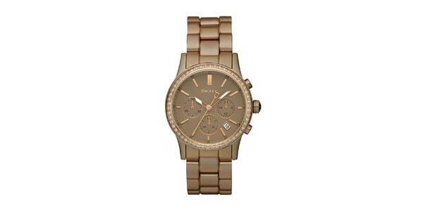 Dámské hnědozlaté hodinky DKNY s kamínky