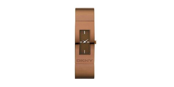 Dámské hnědé ocelové hodinky DKNY