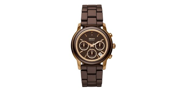 Dámské hnědo-zlaté keramické hodinky DKNY