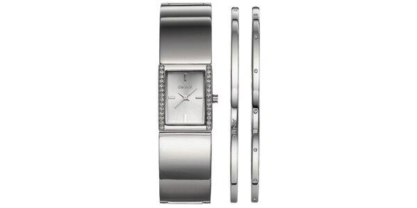 Sada dámských ocelových hodinek DKNY a náušnic