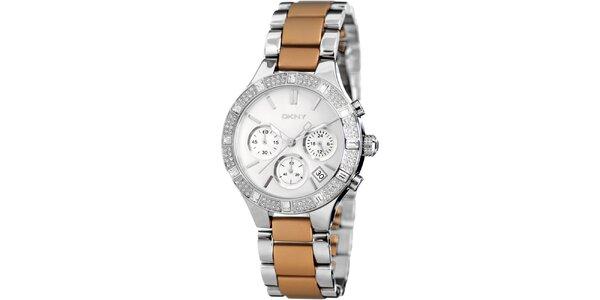 Dámské hnědo-stříbrné hodinky DKNY s kamínky