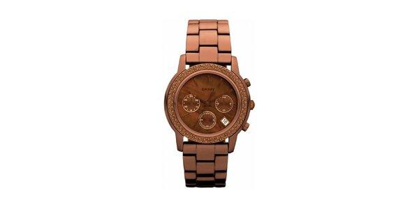 Dámské hnědé ocelové hodinky DKNY s kamínky