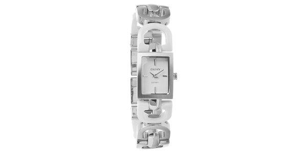Dámské stříbrné ocelové hodinky DKNY s bílými keramickými detaily