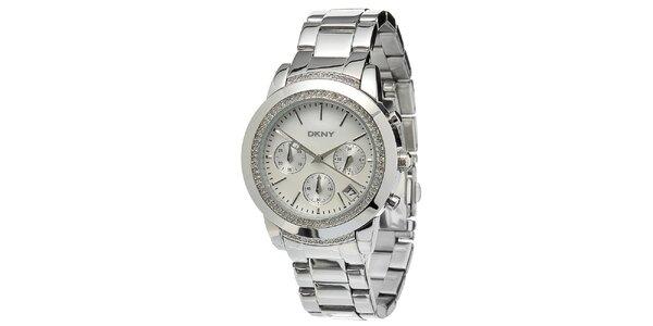 Dámské ocelové hodinky DKNY s kamínky