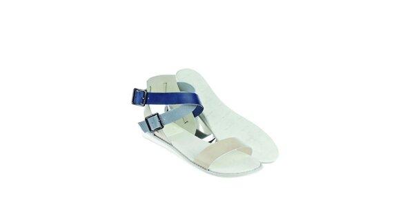 Dámské modro-bílé kožené sandály Lacoste