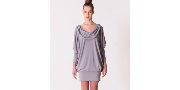 Dámské šedé šaty s vodovým výstřihem Yuliya Babich