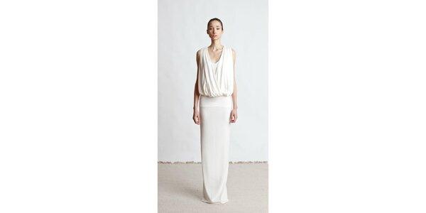 Dámské dlouhé krémové šaty Yuliya Babich s řasením