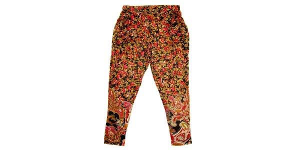 Dětské hnědo-červené květované kalhoty Peace&Love