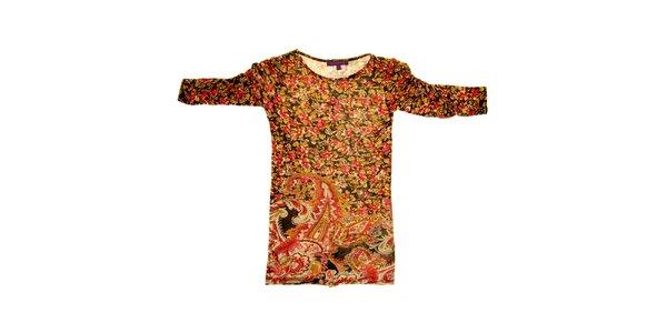 Dětské hnědo-červené vzorované šaty s nabranými rukávy Peace&Love